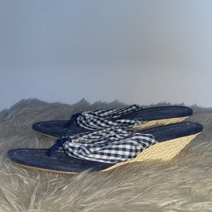 Blue and White Checkered Pattern Wedge Sandals